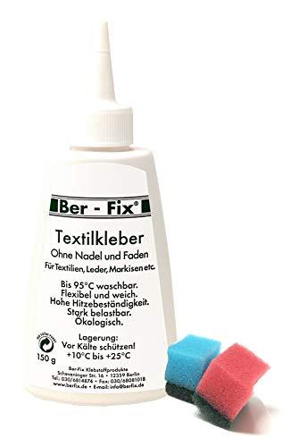 Ber-Fix® Textilkleber waschmaschinenfest transparent 150g für alle Stoffe aus Naturfasern wie Baumwolle Leinen Cord Jeans