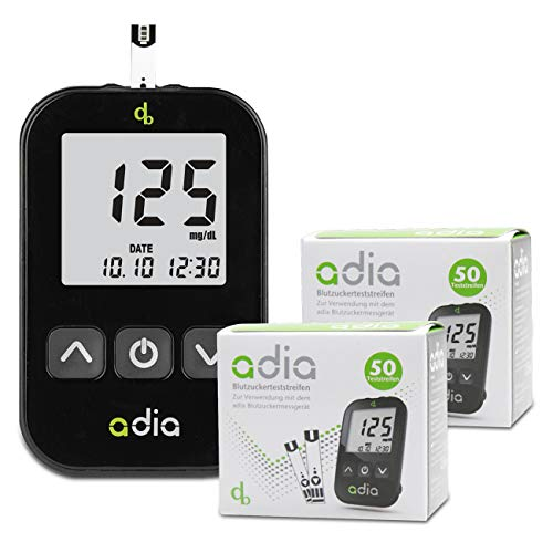 adia Diabetes-Starter-Set inkl. Blutzuckermessgerät (mg) mit 110 Blutzuckerteststreifen, Stechhilfe und Lanzetten – Einfache Selbstkontrolle bei Diabetes!