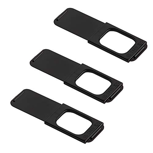 C-Slide Webcam Cover 3 Pack - Thin Sliding Laptop Cam Blocker, Black, 1.5