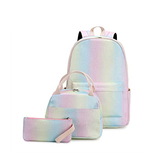 School Backpack for Teenager Girls,3Packs Lovely Glitter Lightweight Travel Backpack for Girls,Shiny Pink School Bookbag Casual Daypack