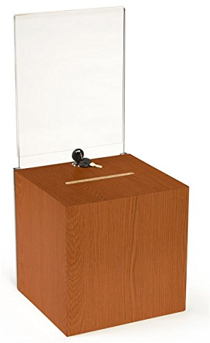Wooden Ballot Box Suggestion Box with Key Lock, 8.5 x 11 inch Sign Holder, Load and Unload Ballots from The Back - Oak