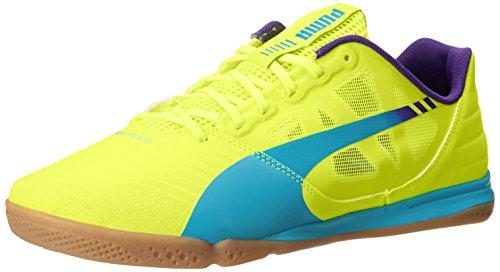 PUMA Men's Evospeed Sala Lace-Up Fashion Sneaker,Fluorescent Yellow/Scuba Blue/Prism Violet,10.5 M US
