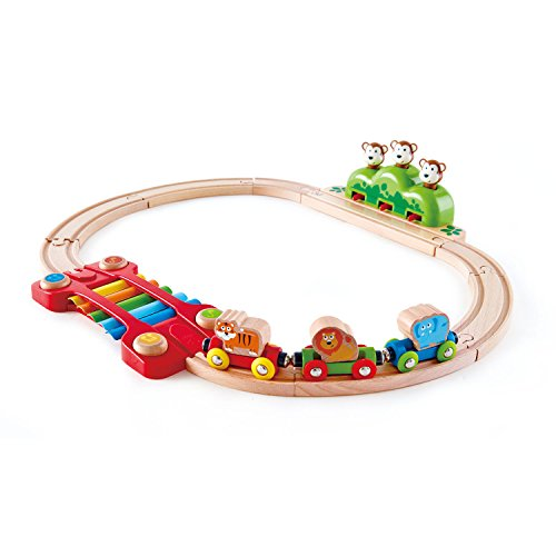 Hape-HAPE-E3825-Circuit de Train en Bois-Chemin de Fer Musical de la Jungle Circuits de Voitures, E3825, Multicolore, Taille Unique