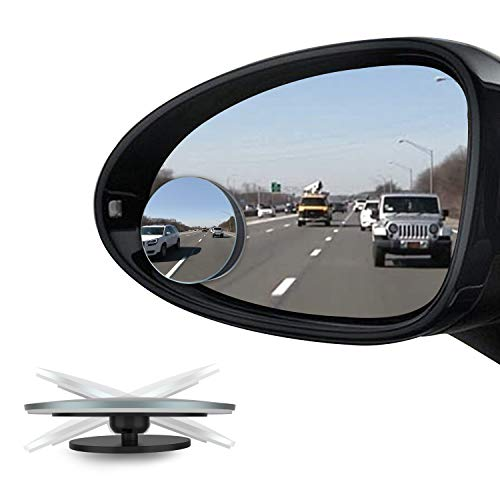 [2-Pack] CBUS Blind Spot Mirror, Frameless HD Glass Rearview Adjustable 3M Adhesive Side Mirrors for Cars, Trucks, SUV | Wide Angle Safety View