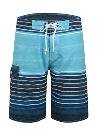 Nonwe Men's Swim Shorts Quick Dry Water Sport Striped Board Shorts Blue Pattern 32