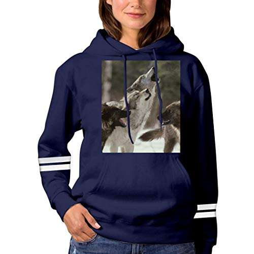 4 Wolves in The Forest Sweatshirt 3D Print Hooded Sweater Funny Pullover Tops Fall Winter for Women Navy 3XL