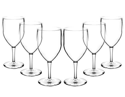 6 Grands verres à vin Polycarbonate incassables et réutilisables (310ml/11 oz Hauter 18.8cm, diamètre mx 8.1cm)