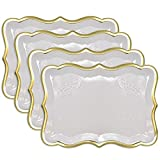 """10 White Rectangle Trays with Gold Rim Border for Elegant Dessert Table Serving Parties 9"""" X 13"""" Heavy Duty Disposable Paper Cardboard for Platters, Cupcake Display, Birthday Party, Weddings Food Safe"""