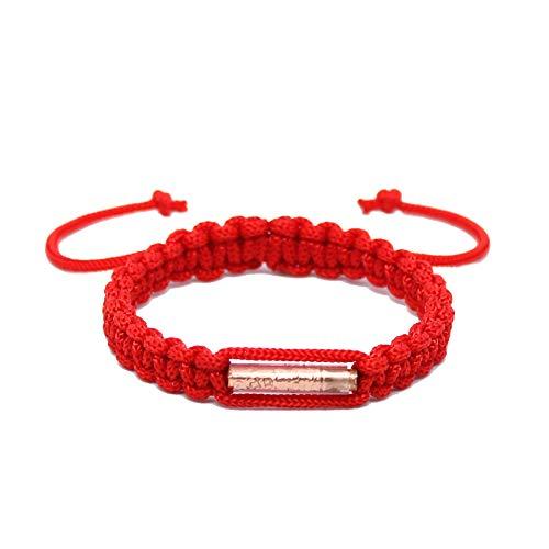 Buddhistisches Armband, handgefertigt mit Amulett aus Messing, thailändisches Design für Karma/Glück/Liebe/Yoga/Meditation (Rot).