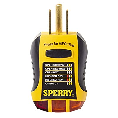 Sperry Instruments GFI6302 GFCI Outlet / Receptacle Tester, Standard 120V AC Outlets, 7 Visual Indication / Wiring Legend, Home & Professional Use, Yellow & Black (Renewed)