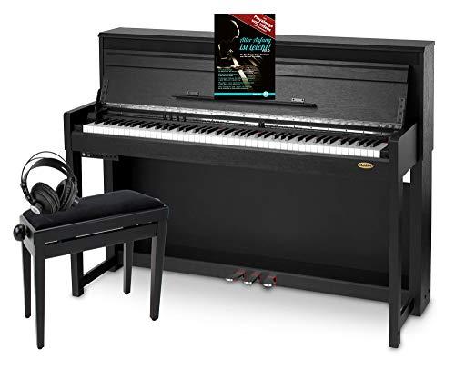 Classic Cantabile UP-1 SM E-Piano Deluxe Set (inklusive Pianobank, Kopfhörer und Klavierschule, Dämpfersimulation, MP3-Recorder, Mic In, OLED Display, 40 hochwertige Sounds, 3 Pedale) schwarz