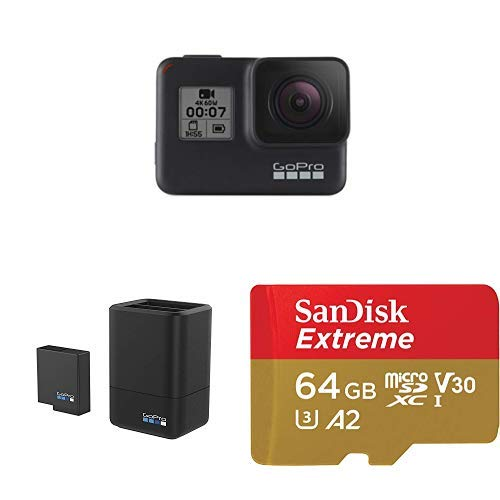 GoPro Hero7 Black action camera battery charger and 64GB microSD card bundle