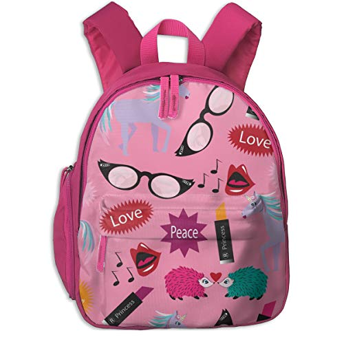 Childrens Backpack for Girls,Unicorn - Wacky Peace Love, Pink, Wacky, Zany, Pink, Lipstick, Flamingos, Hedgehogs_4955-applebutterpattycake,for Children's Schools Oxford Cloth (Pink)