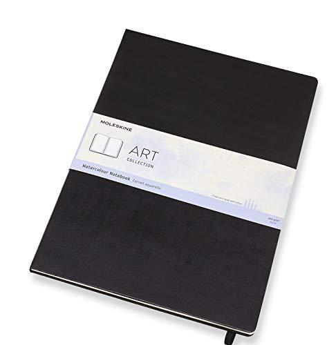Moleskine Aquarell Notizbuch Klassisches Wasserfarben Notizbuch (Papier geeignet für Aquarellstifte und Farben, Hardcover, A3 Format 29,7 x 42 cm, 60 Seiten) schwarz