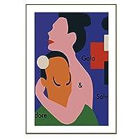 INSポスターウォールアートインテリア-現代抽象スプーフィング愛好家カップルイラスト写真キャンバスペインティング-HDプリントキャンバスアート-フレームレス,V,60×90cm
