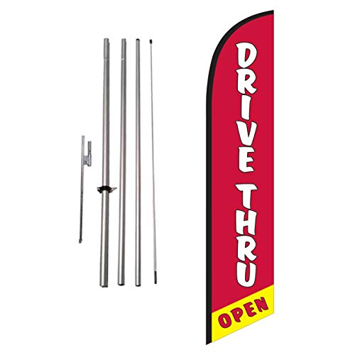 Drive Thru Open Restaurant Advertising Feather Banner Swooper Flag Sign with Flag Pole Kit and Ground Stake, Delivery, Take Away, Curb Side Signs