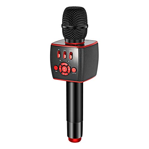 BONAOK 2021 Bluetooth Wireless Karaoke Microphone,Portable Karaoke Machine Two 13W Speakers with Duet Sing for Car/Party/Android/iPhone/PC/All Smartphones X39 RED