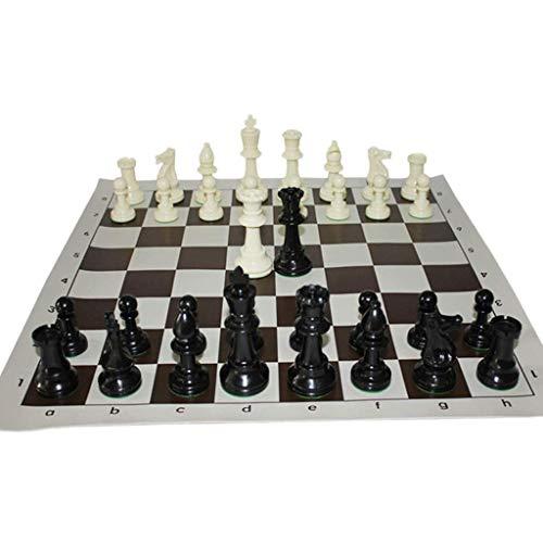 WLD Entrenamiento de competición de adultos estándar internacional, rompecabezas portátil para niños de 43X43 cm, piezas de ajedrez de goma de disquete de PVC seguras y no tóxicas
