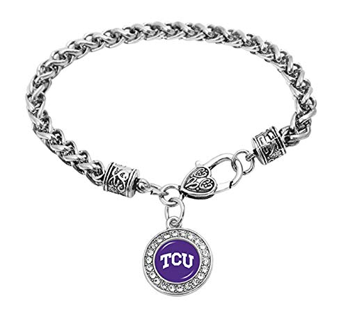 Swamp Fox Texas Christian University TCU Horned Frogs Zinc Alloy Bracelet with Round Rhinestone Team Charm 7 inch