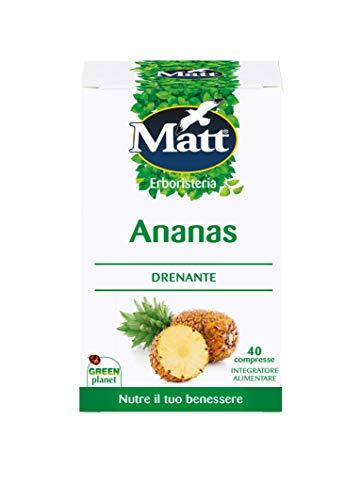 Matt - Integratore Ananas - Integratore Alimentare ad Effetto Drenante, Contro gli Inestetismi Cutanei della Cellulite - 40 Compresse (16 g)