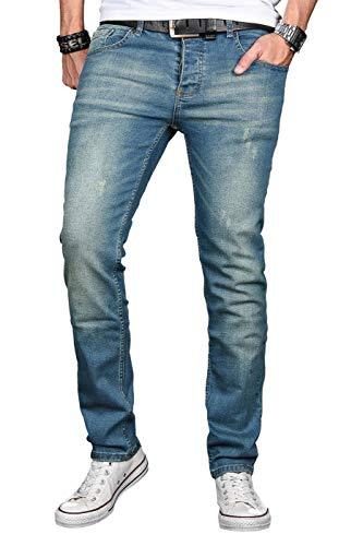 A. Salvarini Herren Designer Jeans Hose Stretch Basic Jeanshose Regular Slim [AS043 - W36 L32], Ocean Blue