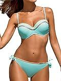 heekpek Bikini Set Trajes de Baña Mujer Dos Piezas Push up Honda Bañador de Colores Playa de Verano Sexy Conjunto con Almohadilla para el Pecho Bikini (Lago Azul, M)