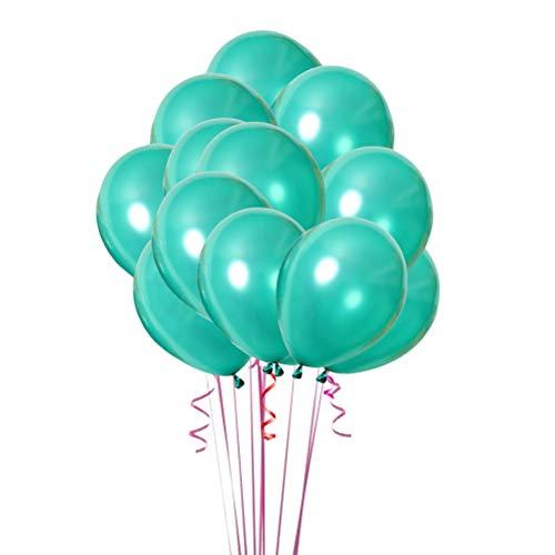 Toyvian Fiesta engrosada nacarada brillante globos de látex para decoraciones de cumpleaños 20pcs 10 pulgadas (verde oscuro)
