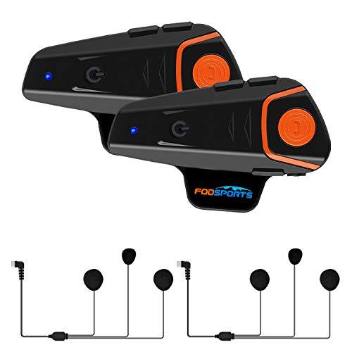 2 Stück x Fodsports BT-S2 1000m Motorrad Helm Intercom und Bluetooth Gegensprechanlage Walkie-Talkie (2pcs Soft Cable)