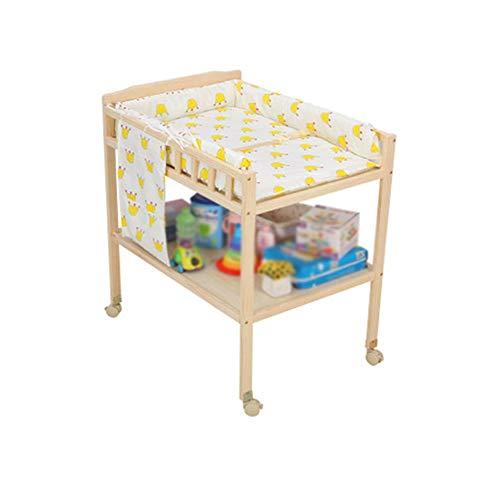 RCJCQS Baby Wickelkommode Wickelregal Babybett Windeltisch Mobile Massivholz Mit Bremsrädern, Arbeitshöhe 84 X 60 X 94h(cm)