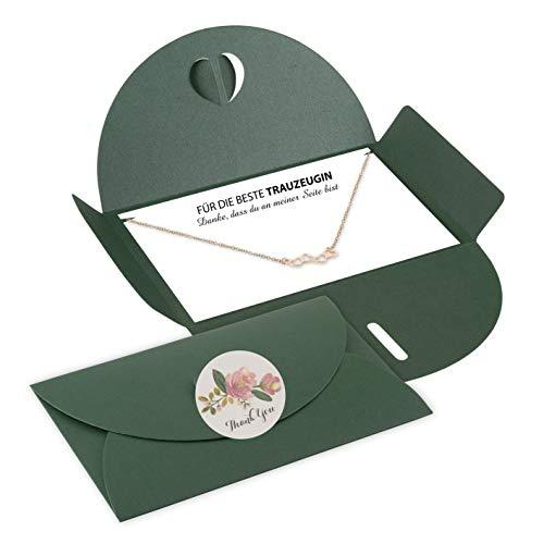 Lillyville Halsketting met hanger en kaart, bedankt dat je aan mijn kant bent – bruiloftshalsketting Umschlag: Dunkelgrün Herzen: Roségold
