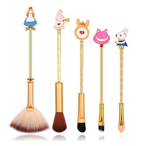 ZHEMAIE Pinceaux de Maquillage 2Colors Maquillage Brosses Set Mignon Rabbit Cat Cosmetic Tool Ombre Ombre Ombre Lèvres Mélange Shadow Shadow Faire des pinceaux (Handle Color : Gold 5pc)