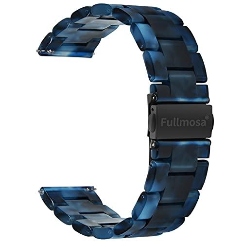 Fullmosa 5 Farben Uhrenarmband 22mm, Bright Serie Armbänder Ersatz-Watch Armband für Herren Damen 22mm Dunkelblau+Rauchengrau Schnalle