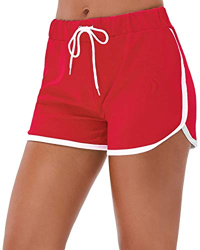 Little Beauty Running Athletic Elastic Waist Workout Yoga Shorts Red L