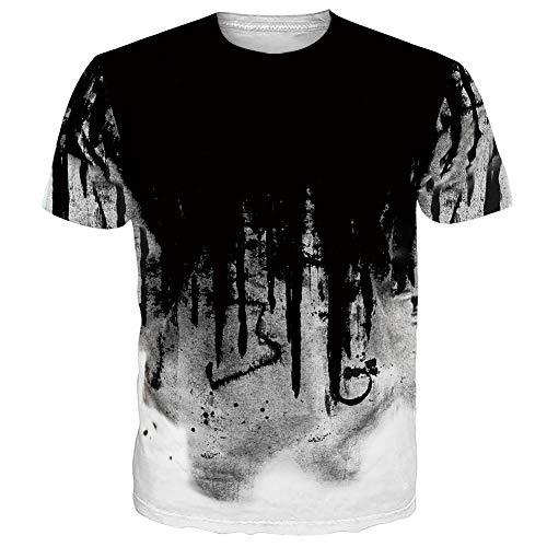 NEWISTAR Unisex Jugend 3D Druck Grafik Casual Kurzarm T-Shirt , Rosa1, XL