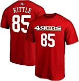NFL Youth 8-20 Team Color Polyester Performance Mainliner Player Name and Number Jersey T-Shirt (X-Large 18/20, George Kittle San Francisco 49ers Red Home)