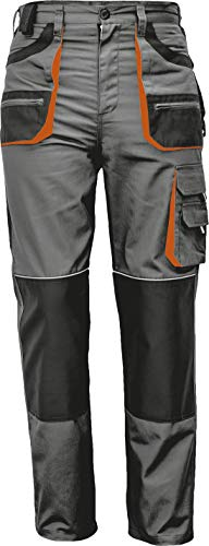 Stenso des-Emerton® - Herren Arbeitshose Bundhose/Cargohose - Grau/Schwarz/Orange EU54