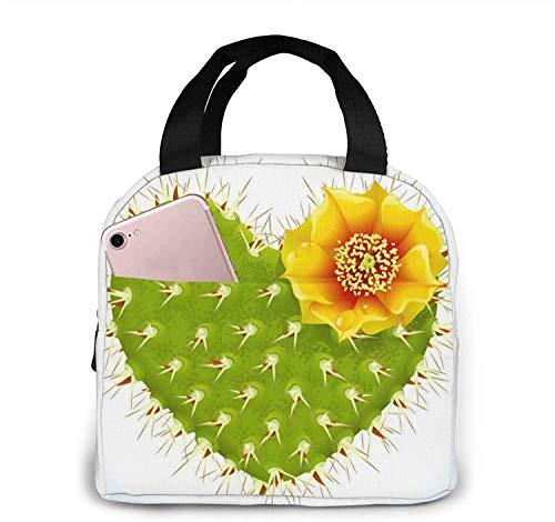 Cactus con flores Bolsa de almuerzo Bolsa de asas Fiambrera Fiambrera con aislamiento Fiambrera para mujer Hombre