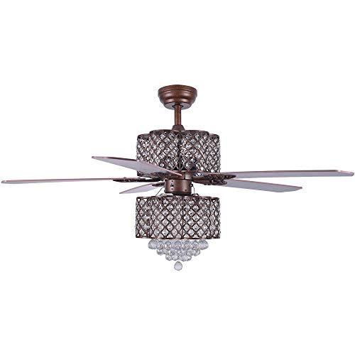 Crystal Ceiling Fan with Lights, Morpholife 52 inch Remote...