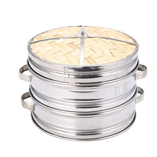 Dim Sum Basket Pasta Dauerhaftes Kochgeschirr Bambusdämpfer Edelstahldeckel Steamer (Größe : 24cm Lid)