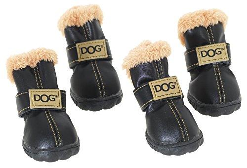 CHAPUIS SELLERIE Set de 4 Chaussures en PVC pour Chien Noir Taille 3