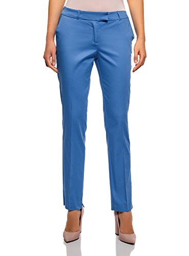 oodji Collection Damen Stretch Hose aus Baumwolle, Blau, DE 40 / EU 42 / L