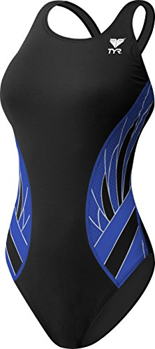 TYR Phoenix Splice Maxfit Swimsuit, Black/Blue, Size 36