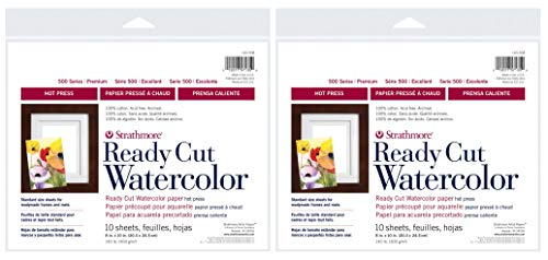 2-Pack - Strathmore 500 Series Hot Press Ready Cut Watercolor Sheet Pack, 8' x 10' - 10 Sheets Each