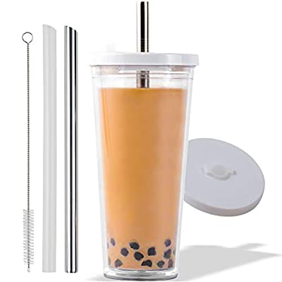 Reusable Boba Cup for Large Size Bubble Tea (24 Oz), Available in 2 Sizes, Angled Straws, Leak Proof Design, Double Wall Insulated Bubble Tea Cup