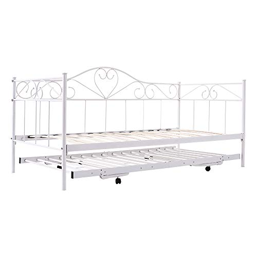 Single Metal Day Bed ,Sofa Bed with Pull Out Trundle Bed (White)