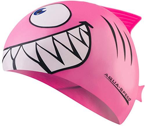 Aqua Speed Schwimmkappe Kinder Mädchen | Badekappe Hai | lustige Schwimmkappe | Swim Cap Girls | Bademütze | Badehaube | Schwimmmütze | Schwimmen | Swimming | Silikon | rosa 03 | Shark