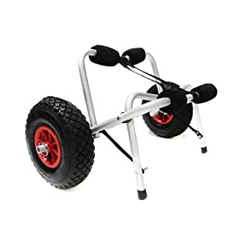 """Tms cart-canoe/kayak-ky001 boat kayak canoe carrier tote trolley 1 capacity : 150-pound 12 ft long tie-down strap. Solid metal frame; foam bumpers on each arm to protect your canoe / kayak hull large(9-1/2""""d) flat-free tires (3-1/2"""" wide) roll smoothly across sand and gravel. Stainless steel fasteners and chrome lynch pin. Quick assembly material : aluminum pipe (20 x2mm) anodized stainless steel. Works great as a kayak or canoe dolly. Dolly breaks down for easy storage or transport"""