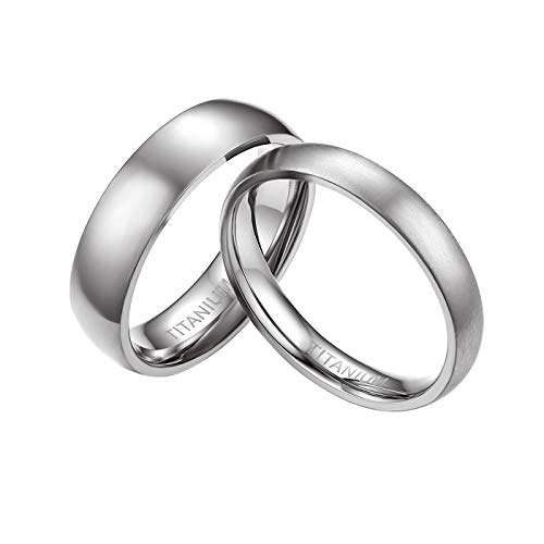 Mabohity Damen-Ring Titan-Ring Titanium 4mm Breit Poliert Gewölbt Ehering Verlobungsring Freundschaftsring Partnerring Paar Ringe, Silber, Größe 65