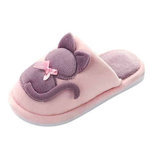 Zapatillas de Algodón de Felpa para Familia e Hijos TOPKEAL Antideslizantes Zapatos Casa Interior de Dibujos Animados