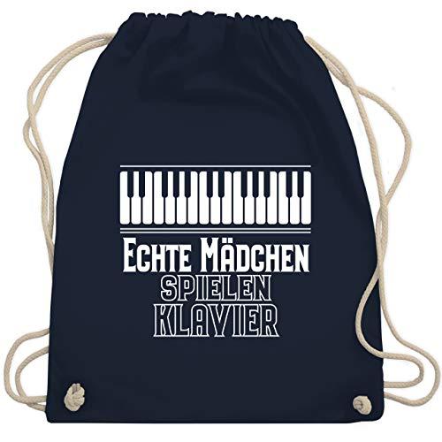 Shirtracer Sprüche Kind - Echte Mädchen spielen Klavier - Unisize - Navy Blau - turnbeutel sprüche mädchen - WM110 - Turnbeutel und Stoffbeutel aus Baumwolle